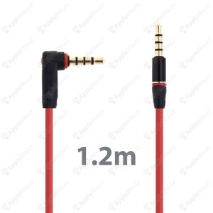 propojovaci audio kabel 35mm jack s kolynkem pro apple iphone ipad ipod mp3 12m cerveny